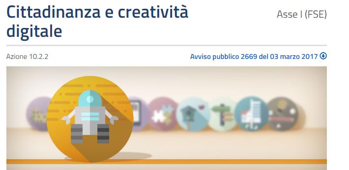 """PON """" Cittadinanza e creatività digitale"""""""